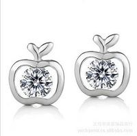 Y-001  925 silver earrings Hearts and Arrows apple earrings women Apple