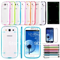 Ultra-Thin Glossy Hard Case Cover Shell For Samsung Galaxy S3 I9300+Gift Stylus+Screen Protector Film