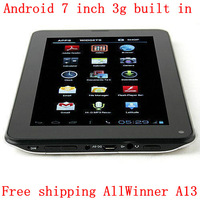 Free shipping 7 Inch AllWinner A13 All function Android 4.0 capacitive touch Tablet  3g built in  OTG 512M/4G 800x480