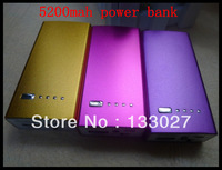 Cute 1pc free shiping  power bank 5200 mah external battery for iphone & ipad / colorful mobile power bank