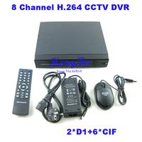 8 Channel H.264 Network CCTV DVR Recorder ,2*D1+6*CIF Realtime Recording,Dvr cms Free Software Standalone DVR for CCTV system