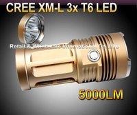 10sets,DHL,Skyray King Flashlight 3 Mode 5000 Lumens 3xCREE XM-L XML T6 LED Flashlight By 4* 18650 Battery High Power Torch
