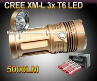 10sets,DHL30w cheap,Hot Sale bright 5000 Lumen 3x CREE XM-L 3x T6 LED+ 4x 18650 Battery+travel charger Flashlight Torch Lamp