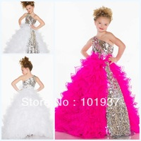 Free Shipping Retail One Shoulder Sequins Girls Pageant Dresses Beaded Ruffle Floor Length Birthday Girl Party Dresses 42877S