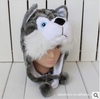 Cartoon animal hat husky plush toy