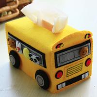 Handmade fabric material diy kit school bus paper pumping box set tissue box nongrounded