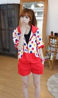 Women Trendy Hooded Neck Short Batwing Sleeve Polka Dots Pattern Baggy T-shirt with Elastic Shorts F Free Shipping A527-9313