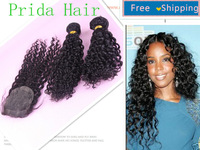 Curly Virgin Hair 1 Pc Lace Top Closure With 2 Pcs Human Bundles,3 Pcs/Lot,Malaysian Curly Virgin Hair Free Shipping