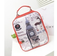Hot print backpack small female PU backpack school bag preppy style