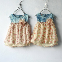 2013 new baby girls lace princess dress jeans dress Splice lace flowers dress Free shipping for Retail
