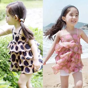Female child summer 2013 children's clothing baby polka dot vest spaghetti strap top basic shirt(China (Mainland))