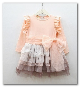 Children spring autumn long sleeve dress girls big BOW tutu party dress kids fly sleeve Tiered tulle princess dress 1376