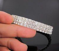 3 Rows Crystal Bracelets Rhinestone Bracelet Springy Bracelet Free Shipping A120  12pcs/1lot