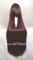 Free shipping High Quality hot sale New 100cm Long Straight Dark brown anime Cosplay Wig Party+Free Wig Cap