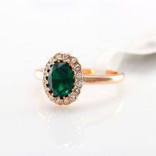 Emeralds, purple Austria crystal ring with female 18 k gold plated jewelry holiday gifts