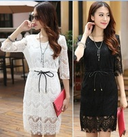 free shipping promotion 2013 New Arrival women's fashion sexy lace sashes dress, lace flower casual dress, dresses for women