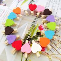 500PCS/Lot, Wholesale Heart multicolour folder wedding creative photo wall DIY mini small wooden clip Mix color Free shipping