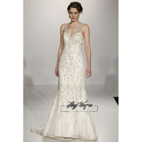 13W002 V-Neck Embroidery Tulle Full Length Gorgeous Luxury Unique Brilliant Bridal Wedding Dress Free Shipping