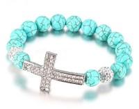 Free shipping cheap 10mm turquoise beads 2 rows rhinestone cross sideways elasticity S051 shamballa bracelet 20pcs/lot