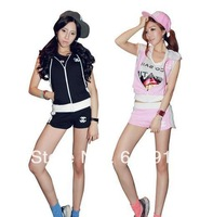 Free Shipping 2013 Cotton Brand Leisure Casual Zipper Tops and Slack Short Pants Sport Suit Sets for Women Girls