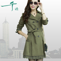 2014 spring and autumn double breasted medium-long slim women's trench female outerwear plus size