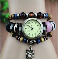 Free shipping 1 PCS butterfly pendant Leather strap watch, 100% genuine Leather Hand woven Antique Table,