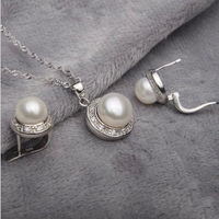 Freshwater Pearl Sets Fancy Natural Pearls Rhinestone 925 Sterling  Earrings Pendant Necklace Wedding Jewelry Set Women Gifts