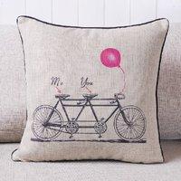 New Luxury Cotton Tandem Bicycle Baloon Wedding Romantic Me & You Prints Fashion Decorative Pillow Case Cushion Cover Sham