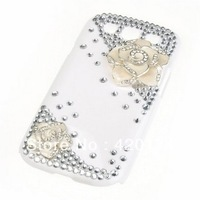 Luxury Beautiful Camellia Flower Bling Hand-made Art Diamond Crystal Back Hard Crystal Case Cover for Samsung galaxy S3 i9300
