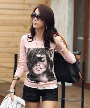 Women Fashion Round Neck Full Sleeve Slim Waist Portrayal Printed Rhinestone Decor Pullover T-Shirt S Free Shipping A527-9227