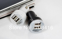 50pcs/lot,Dual Bullet USB 2 Port Car Charger Adaptor for ipad 4 iPhone 5 iPod cellphone,cellphone,psp,free shipping
