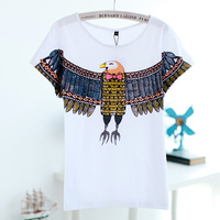 2013 women's o-neck loose mm plus size eagle medium-long slim hip short-sleeve T-shirt