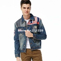 2013 autumn men's fashion blue black denim jacket coat , male casual america flag jean overcoat , slim designer jackets for men
