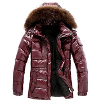 winter men's warm thick white duck down coat  big size medium long large racoon bear fur collar hooded waterproof jacket for men