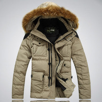 Watch  Original news 2013 men's winter warm thick Detachable cap Windproof down coat short design large fur collar clothes M-2XL