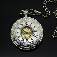 New arrival pocket watch vintage women's male fashion Large white double open pocket watch mechanical