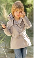 2014 free shipping Retail 1 set Top Quality! girls hoodies Double-breasted trench coat kids long jacket for autumn in stock
