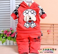 2013 new cute children suit big ears dog hooded sweater sports leisure suit four-color three yards