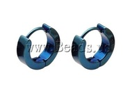 Free shipping!!!Stainless Steel Stud Earrings,Cheap Jewelry Fashion, for man, blue, 4mm, Inner Diameter:Approx 9mm, 17Pairs/Lot