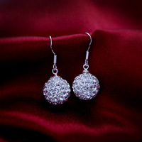 Korean Korean ladies temperament earrings shining silver earrings exquisite ball over drilling 4633-2-45