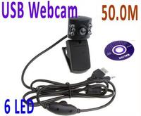 100pcs/lot.Free shipping 6 leds USB hd camera, PC camera, computer camera, a computer microphone laptop