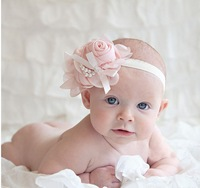 2013 newest baby girls flowers pearl headband chiffon rose pearl flower Headwear baby infant hair accessories Free shipping