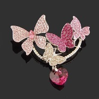 Brooch corsage pectinous NEOGLORY accessories color toner 5 butterfly crystal heart brooch popular brooch pin
