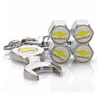 10pec Chevrolet Tire Valve Caps with Wrench Keychain Free Shipping