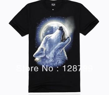 Free shipping, High Quality Man's 100% Cotton short sleeve T-shirt 3D printing. Print Animal Write wolf shirt NZ07008