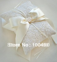 Free Shipping White ivory bridal Ring Pillow Bearer Cushion for Wedding