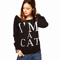 100% Brand New Fashion im a cat black big o-neck long-sleeve pullover sweatshirt  womens clothing