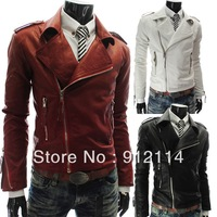 2014  personality Inclined zipper Large lapel PU leather jackets for men More zip casual slim leather jackets men,M-XXL,5868