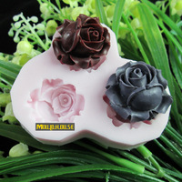 3 hole rose flower Arylic Resin Flower silicone mold,fondant molds,sugar craft tools,chocolate mould,soap candle molds for cakes