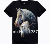 Free shipping, High Quality Man's 100% Cotton short sleeve T-shirt 3D printing. Print Animal Horse shirt NZ07007